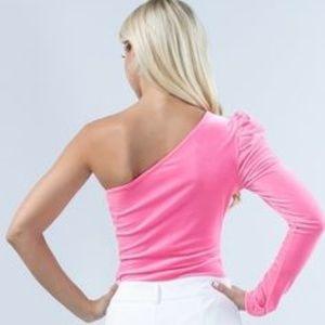 ultrachicfashion.com Tops - Pink Velvet Bodysuit